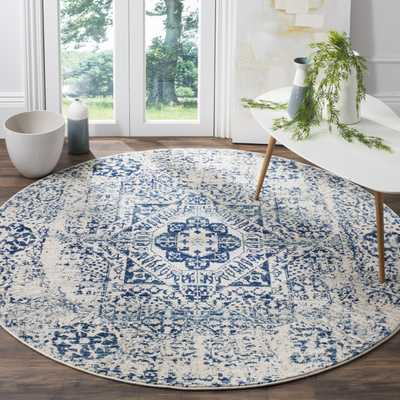 """Arlo Home Woven Area Rug, EVK260C, Ivory/Blue,  6' 7"""" X 6' 7"""" Round - Arlo Home"""