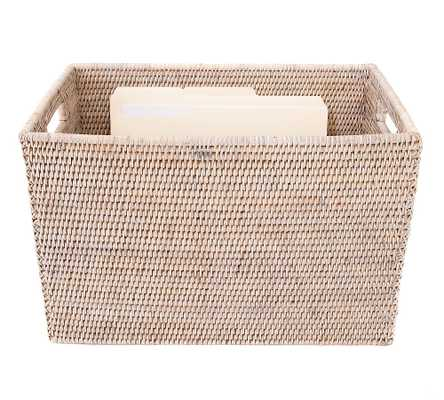 Summerville Handwoven Rattan Legal File Box With Lid, White Wash - Pottery Barn
