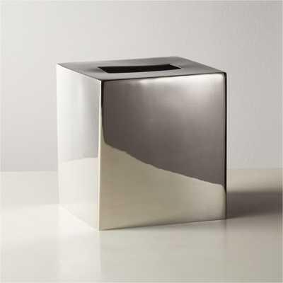 Elton Polished Nickel Tissue Box Cover - CB2