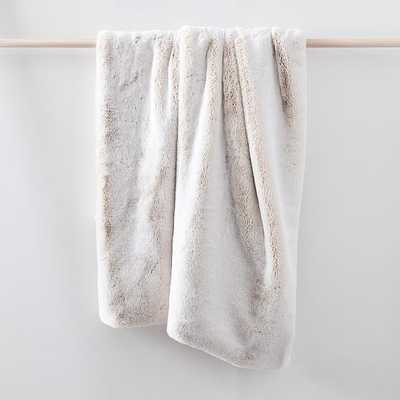 "Faux Fur Chinchilla Throw, Set of 2, Stone White, 47""x60"" - West Elm"