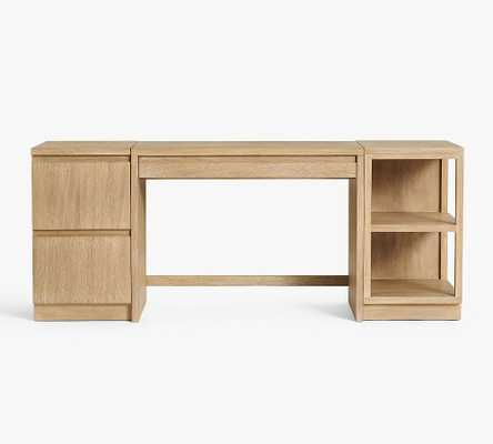 Pacific Desk with Bookcase and File Cabinet, Fog - Pottery Barn