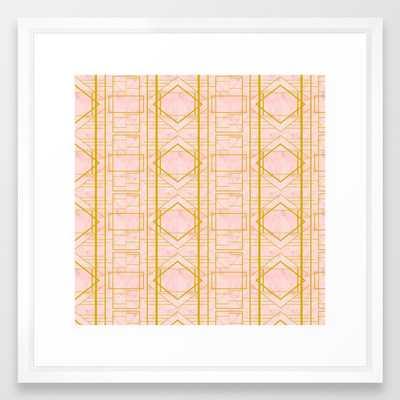 Art Deco Blush #pattern #geometric #blush Framed Art Print by 83 Orangesa(r) Art Shop - Vector White - MEDIUM (Gallery)-22x22 - Society6