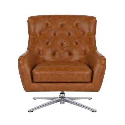 "Maurin 22"" W Tufted Faux Leather Swivel Lounge Chair - Wayfair"