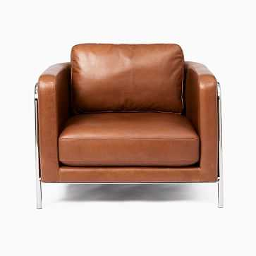 Nina Chair, Poly, Vegan Leather, Saddle, Polished Stainless Steel - West Elm