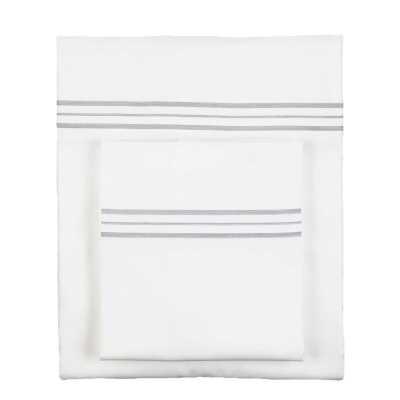 Ann Gish & The Art of Home Hem Stripe 100 Cotton Sheet Set Size: King, Color: White/Grey - Perigold