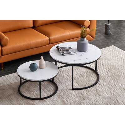 Two Marble Round Coffee Table Sets With Metal Bottom Frame & Wood Top - Wayfair