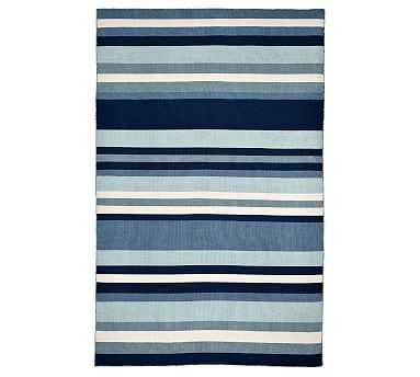 """Louis Stripe Indoor/Outdoor Rug, Blue, 5 x 7'6"""" - Pottery Barn"""