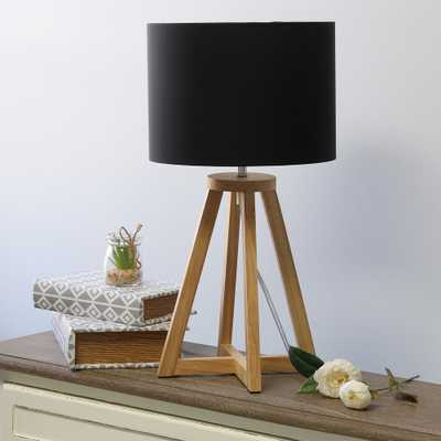 "Simple Designs 19 1/4""H Natural Wood Black Accent Table Lamp - Style # 85W63 - Lamps Plus"