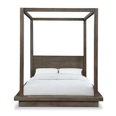 Modus Furniture Melbourne Light Wood Dark Pine King Canopy Bed with Platform Bed Mattress Support - Home Depot