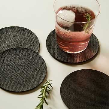 Molly M Within Leather Coasters, Black, Set of 4 - West Elm