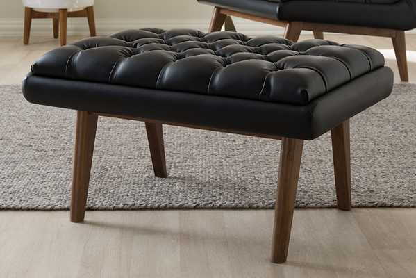 Baxton Studio Annetha Mid-Century Modern Black Faux Leather Upholstered Walnut Finished Wood Ottoman - Lark Interiors