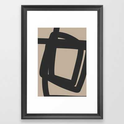 Neutral Abstract 4a Framed Art Print by The Old Art Studio - Scoop Black - SMALL-15x21 - Society6