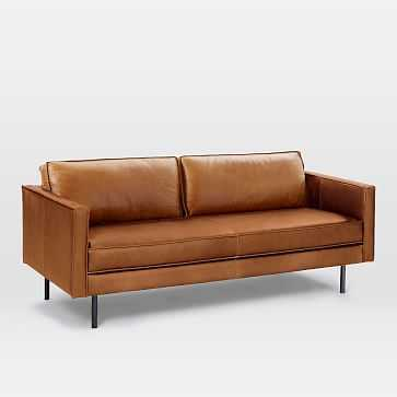 "Axel 76"" Sofa, Leather, Saddle - West Elm"