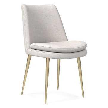 Finley Low Back Dining Chair, Performance Coastal Linen, Stone White, Light Bronze - West Elm