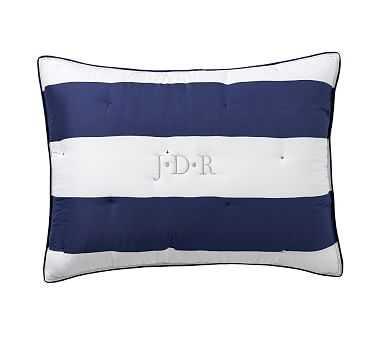 Rugby Stripe Comforter, Standard Sham, Navy - Pottery Barn Kids