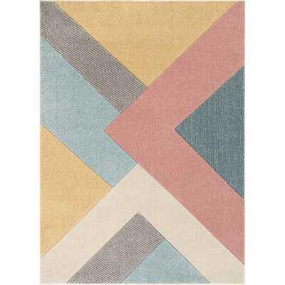 Ruby Power Loom Blue/Gold/Pink Rug - Wayfair