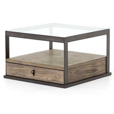 Ancroft Glass Top Frame End Table with Storage - Wayfair