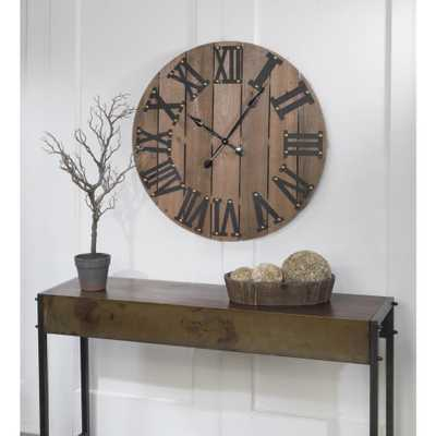Tripar 31.5 in. H x 31.5 in. W Large Wooden Wall Clock, Brown - Home Depot