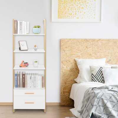 Ladder Shelf Wall Mounted Bookshelf With Drawers - Wayfair
