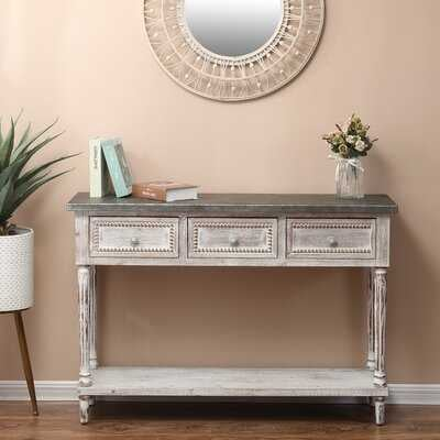 Wood And Metal Farmhouse Distressed Console Table - Wayfair