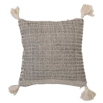 Beige Square Cotton Pillow with Corner Tassels - Moss & Wilder