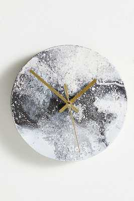 Marbleized Wall Clock By Anthropologie in Black - Anthropologie