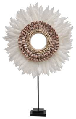 Handmade Feather & Shell Decorative Figurine on Metal Stand - Nomad Home