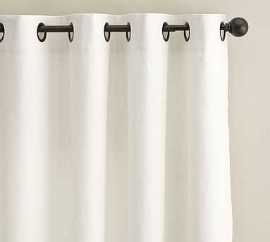 "Emery Linen Grommet Drape with Blackout, 50 x 108"", Ivory - Pottery Barn"