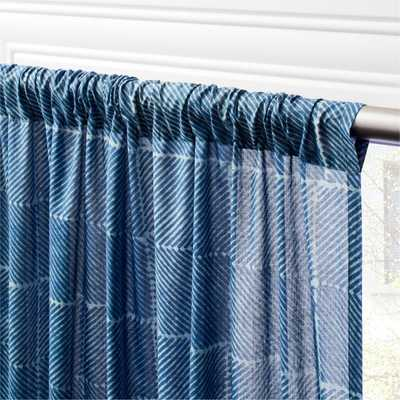 "Indigo Block Print Curtain Panel 48""x96"" - CB2"