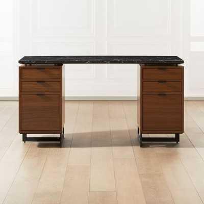 Fullerton Modular Black Desk with Two Walnut Drawers - CB2