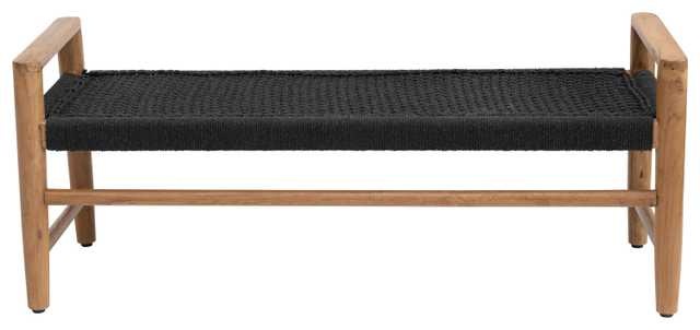 """45.5""""W Teak Wood Bench with Cotton Woven Seat - Nomad Home"""