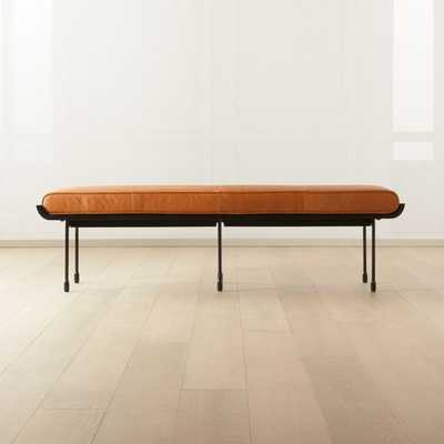 Juneau Leather and Metal Bench - CB2