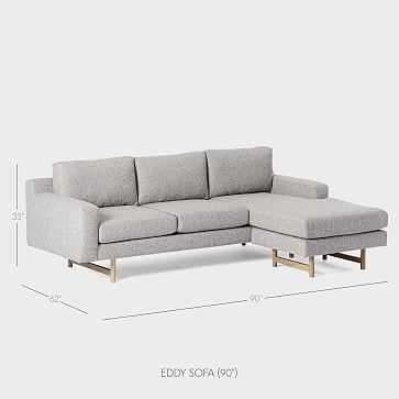 Eddy 3 Seater Flip Sectional, Deco Weave, Feather Gray - West Elm