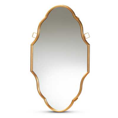 Baxton Studio Dennis 23 in. x 39 in. Modern Oval Frame Gold Wall Mirror - Home Depot