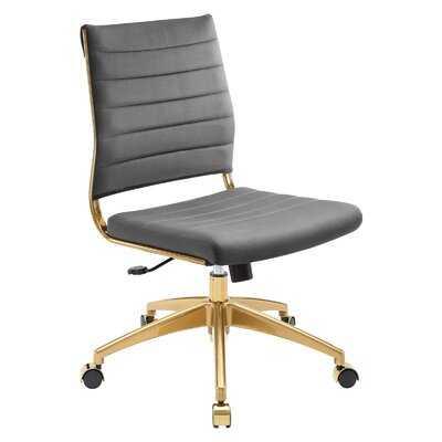 Erkin Armless Mid Back Performance Velvet Office Chair In Ivory - Wayfair