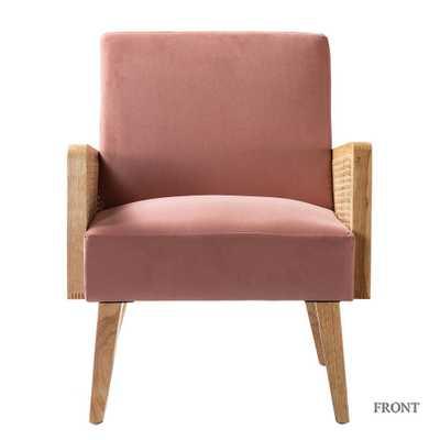 JAYDEN CREATION Delphine Blush Natural Legs Cane Accent Chair (HM18223) - Home Depot