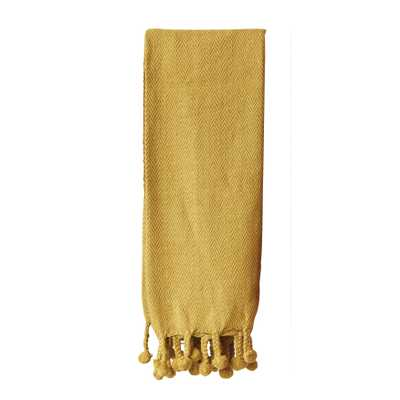 Gold Cotton Throw with Pom Poms - Nomad Home