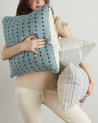 micro square mud cloth pillow in faded lagoon - cover only - PillowPia