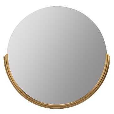 Round Half Frame Modern Mirror, Gold - West Elm