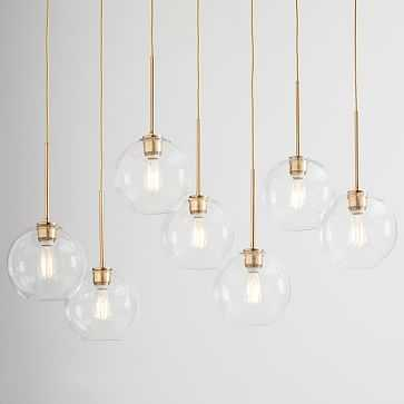 Sculptural Glass 7-Light Linear Chandelier, Small Globe, Clear Shade, Brass Canopy - West Elm