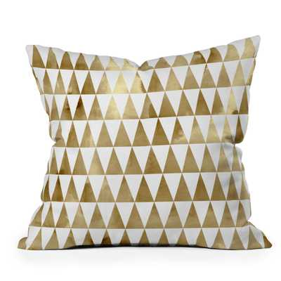 "Triangle Pattern Gold by Georgiana Paraschiv - Outdoor Throw Pillow 18"" x 18"" - Wander Print Co."