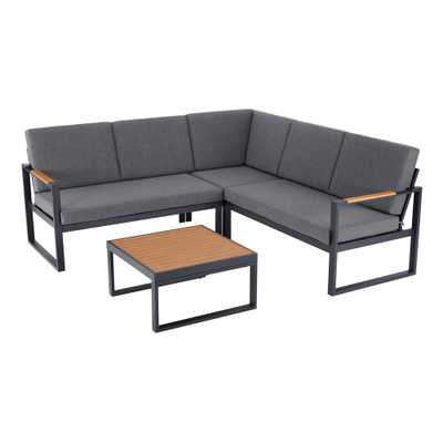 Hampton Bay Pinnacle 4-Piece Metal Outdoor Sectional Set with Graphite Cushions - Home Depot