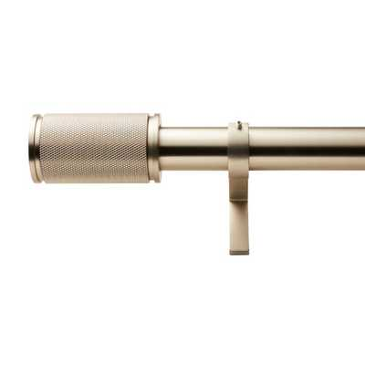 "Brushed Nickel Amp Finial Curtain Rod Set 88""-120""x1.25""Dia. - CB2"