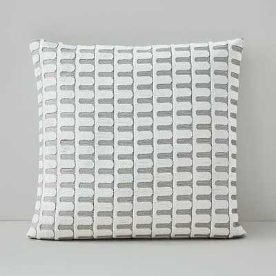 "Cut Velvet Archways Pillow Cover, Set of 2, 18""x18"", Stone White - West Elm"