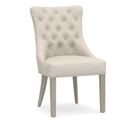 Hayes Upholstered Tufted Dining Side Chair, Gray Wash Frame, Performance Brushed Basketweave Oatmeal - Pottery Barn