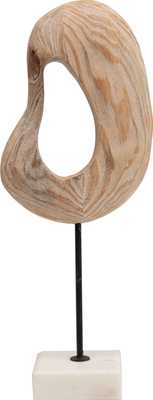 Abstract Hand-Carved Wood Art on White Marble Base - Moss & Wilder