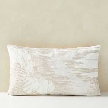 """Embroidered Etched Clouds Pillow Cover, 12""""x21"""", Belgian Flax - West Elm"""