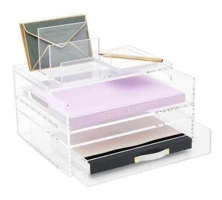 "Acrylic Desktop Organizer, 11""W x 12.5""H - Pottery Barn"