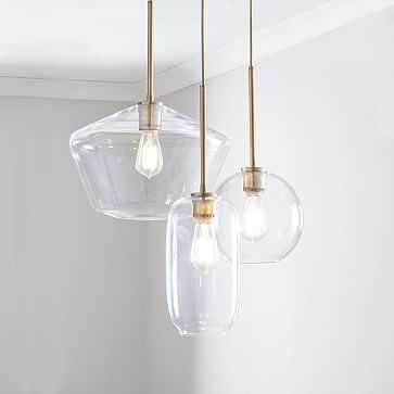 Sculptural Glass 3-Light Round Mixed Chandelier, S Globe,-M Pebble,-L Geo, Clear Shade, Brass Canopy - West Elm