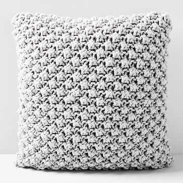 "Bobble Knit Pillow Cover, 24""x24"", Stone Gray - West Elm"